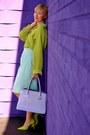 Chartreuse-silk-nordstrom-shirt-light-purple-leather-segolene-bag