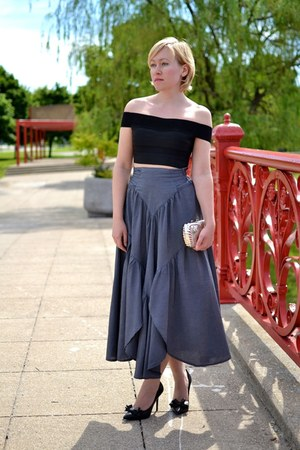 maxi skirt unknown skirt - bustier H&M Trend top - bow tie Steve Madden heels