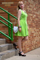 chartreuse neoprene Betsey Johnson dress - white vintage unknown bag