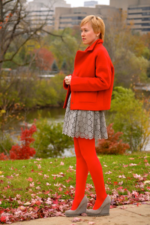 red cocoon Fossil coat - red tights HUE tights - silver full unknown skirt