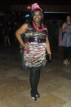 black INC dress - yellow Evans London shoes - black ashley stewart belt - black