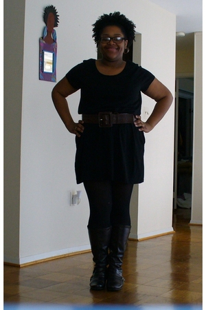 black Old Navy dress - black Worthington tights - brown Lane Bryant boots - brow
