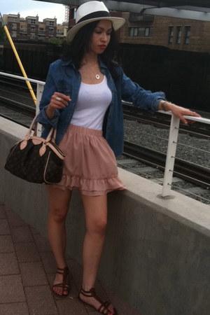 light pink Forever 21 skirt - light blue chambray Forever21 shirt