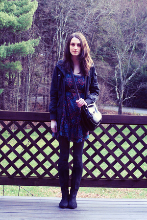H&M jacket - H&M dress - f21 belt - H&M purse - tights - Charlotte Russe shoes