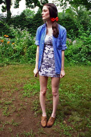 floral lace Forever21 dress - denim Gap shirt - oxfords crown vintage loafers -