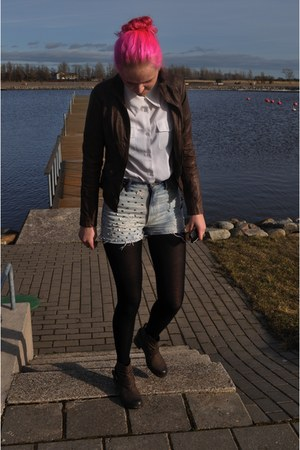 brown shu boots - brown seppel jacket - light blue Levis  DIY shorts