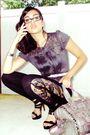 Gray-calvin-klein-blouse-black-black-christian-louboutin-shoes