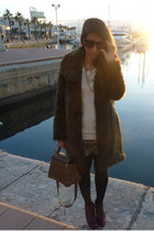 crimson Zara boots - dark brown Zara coat - dark brown vintage bag - olive green