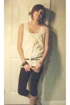 white J Crew blouse - black Metropark belt - black xhilaration leggings - Lucky