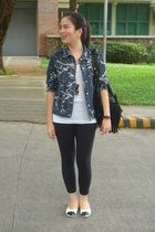black white shoes - EDC jacket - black random leggings - black fringed bag