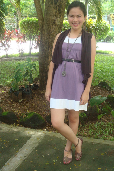 Zara vest - Bazaar dress - sm dept store accessories - Grendha shoes - belt