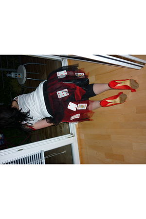 red Zara shoes - white Italian market shirt - black homemade skirt
