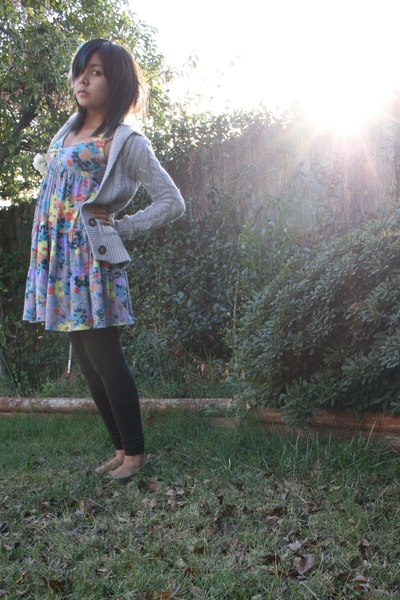 sweater - lux uo dress - tights