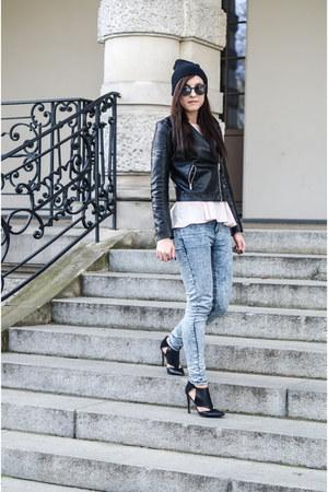 black leather H&M jacket