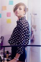 dotted AHAISHOPPING blouse - asymetric AHAISHOPPING shorts