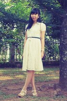 ivory lace dress - dark brown vintage christian dior bag - ivory iwearup wedges