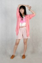 white love shirt - light pink shorts - bubble gum knit cardigan