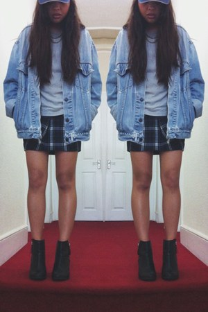 denim thrifted jacket - boots H&M shoes - tartan Topshop skirt