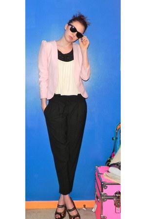 pink DIY blazer - Ray bans sunglasses - Theory pants - leopard Paolo heels