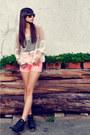 Black-black-nava-boots-bubble-gum-mid-waist-new-pink-shorts-eggshell-sheer-t