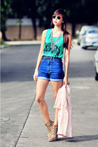 aquamarine Androgynous top - blue Made You Look shorts - silver gift necklace -