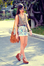 Burnt-orange-fringe-bread-and-butter-bag-light-blue-floral-thrifted-shorts-s
