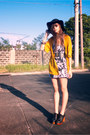 Black-floral-random-brand-dress-black-floppy-forever-21-hat-gold-gold-chanel