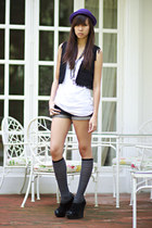 black F-Stop vest - navy Gliteratti shorts - gray Forever 21 socks - deep purple