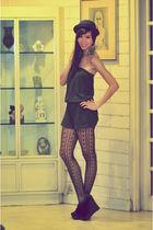 Black Wedges shoes - Forever 21 stockings - random brand jumper - Forever 21 acc