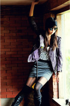 deep purple vintage jacket - gray random skirt - black Topshop stockings - Topma