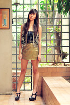 black Posh &Pretty vest - navy from bangkok dress - bronze The Second Shop skirt