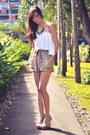 White-paperbag-cocobelle-shorts-camel-asymmetrical-shopaholic-top-tan-criss-