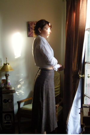 white vintage blouse - brown vintage skirt