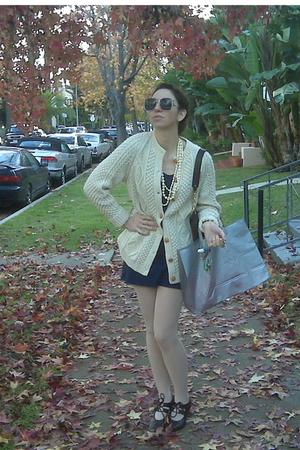 blue American Apparel dress - white vintage sweater - beige American Apparel sto