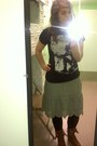 Brown-boots-black-tights-olive-green-american-eagle-skirt-black-t-shirt