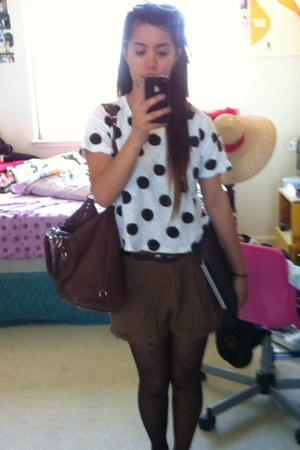 black polka dots Payless tights - white Forever 21 shirt - brown coach purse