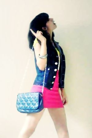 pink skirt - blue jacket - blue purse - yellow shirt