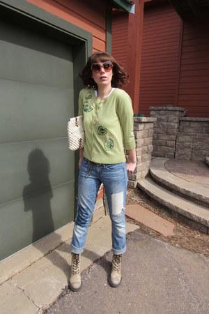 Esprit boots - Gap jeans - Chloe sunglasses - Nick & Mo cardigan