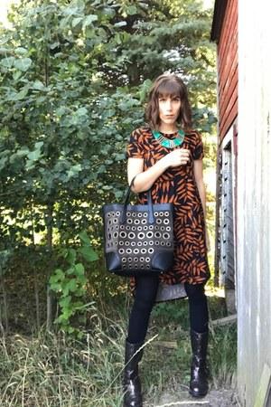 LuLaRoe dress - Sonia Rykiel purse - Etsy necklace