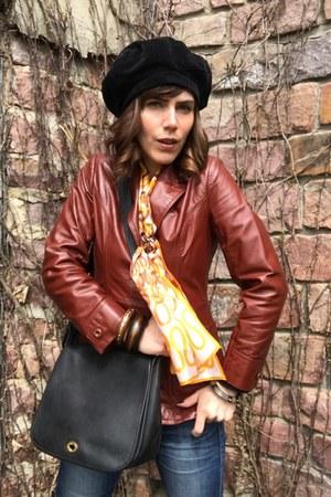 vintage jacket - vintage scarf - coach purse - thrifted bracelet