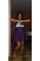 blue lurdes dress - purple lurdes skirt - orange couro fino shoes