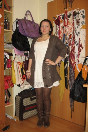 white H&M dress - brown Zara cardigan - brown Wolford tights - brown Zara boots