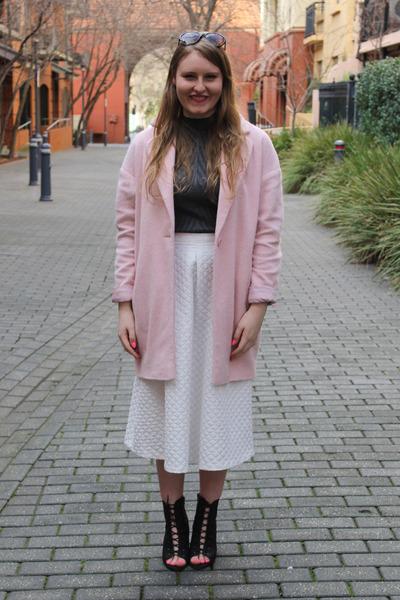 asos coat - Topshop skirt - Iconic AU heels - portmans top