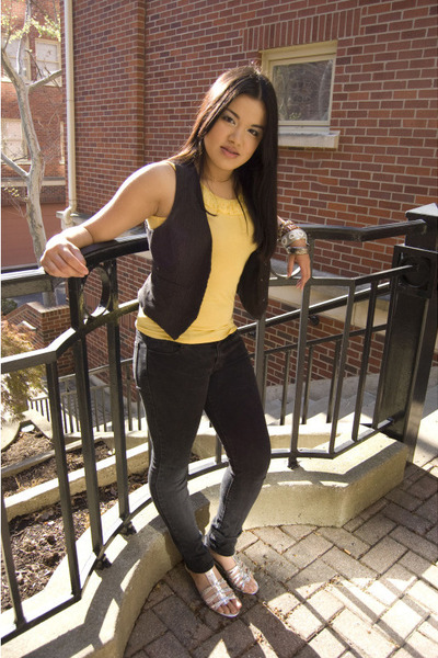 yellow Body Shop shirt - black Dont remember Vintage vest - Charlotte Russe pant