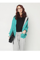 Turquoise-blue-knit-cardigan-heather-gray-cotton-jumper-brown-tiger-print-gl