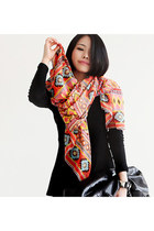 Leather Patch Leggings Ethnic Print Scarves