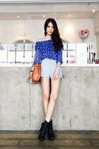 Light-blue-denim-shorts-blue-sheer-blouse