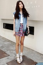 Blue-denim-vest-blue-skirt