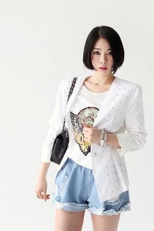 white studded blazer - light blue denim shorts - ivory t-shirt