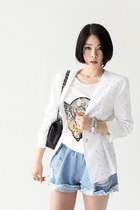 White-studded-blazer-light-blue-denim-shorts-ivory-t-shirt